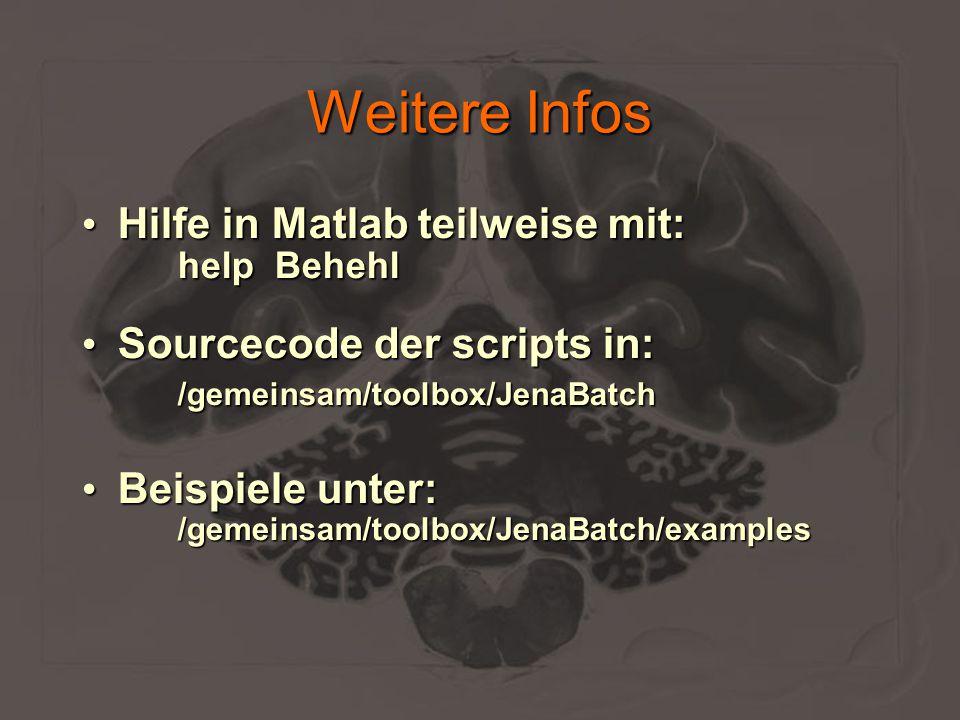 Weitere Infos Hilfe in Matlab teilweise mit: Hilfe in Matlab teilweise mit: help Behehl help Behehl Sourcecode der scripts in: Sourcecode der scripts