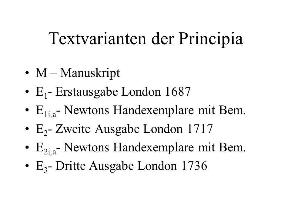 Textvarianten der Principia M – Manuskript E 1 - Erstausgabe London 1687 E 1i,a - Newtons Handexemplare mit Bem. E 2 - Zweite Ausgabe London 1717 E 2i
