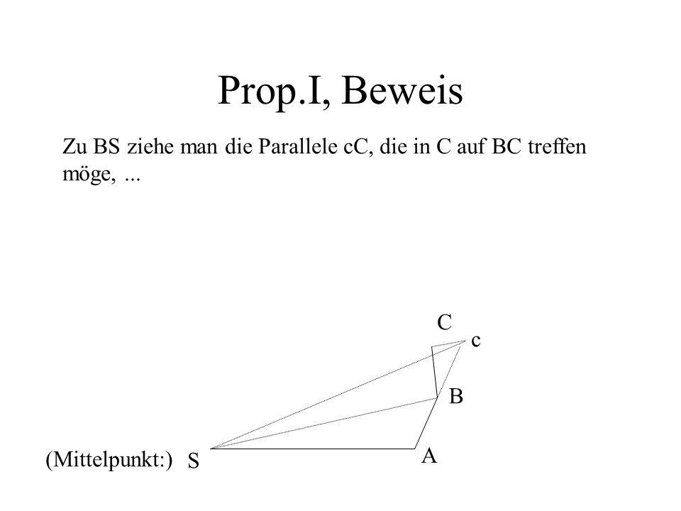 Prop.I, Beweis Zu BS ziehe man die Parallele cC, die in C auf BC treffen möge,... A B c S (Mittelpunkt:) C