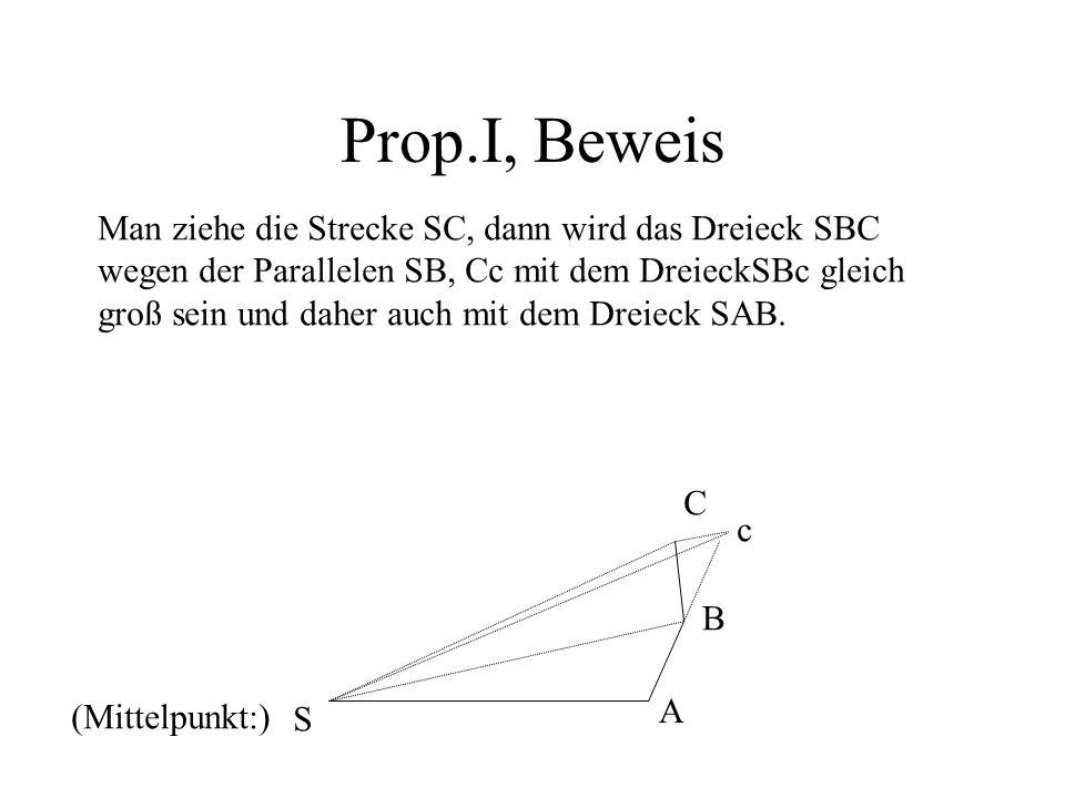 Prop.I, Beweis Man ziehe die Strecke SC, dann wird das Dreieck SBC wegen der Parallelen SB, Cc mit dem DreieckSBc gleich groß sein und daher auch mit