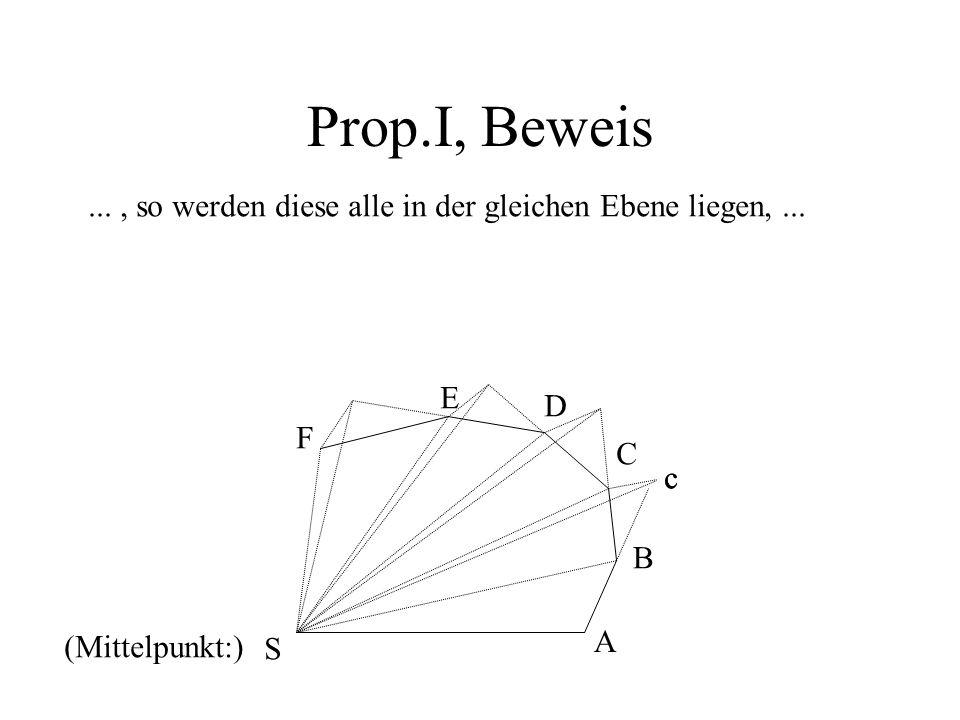 Prop.I, Beweis..., so werden diese alle in der gleichen Ebene liegen,... c (Mittelpunkt:) A B c S C D E F