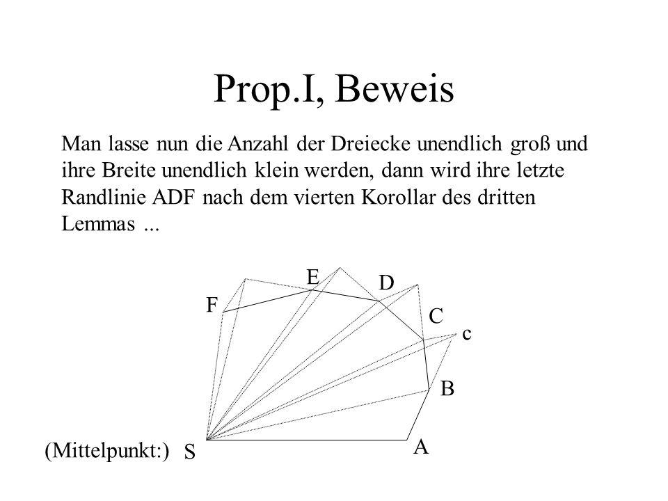 Prop.I, Beweis Man lasse nun die Anzahl der Dreiecke unendlich groß und ihre Breite unendlich klein werden, dann wird ihre letzte Randlinie ADF nach d