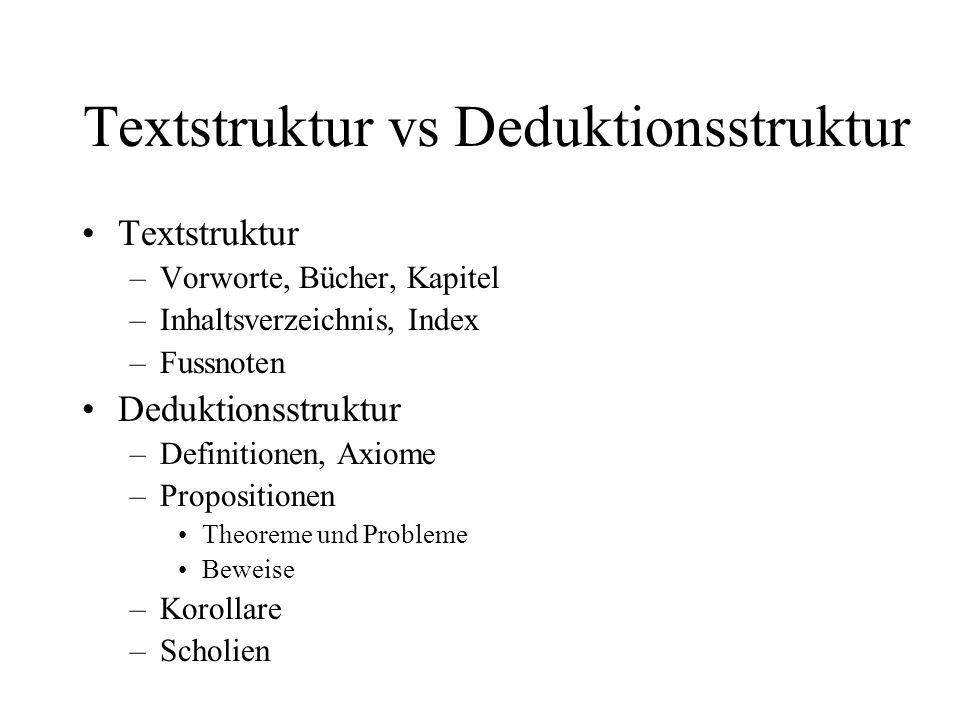 Textstruktur vs Deduktionsstruktur Textstruktur –Vorworte, Bücher, Kapitel –Inhaltsverzeichnis, Index –Fussnoten Deduktionsstruktur –Definitionen, Axi