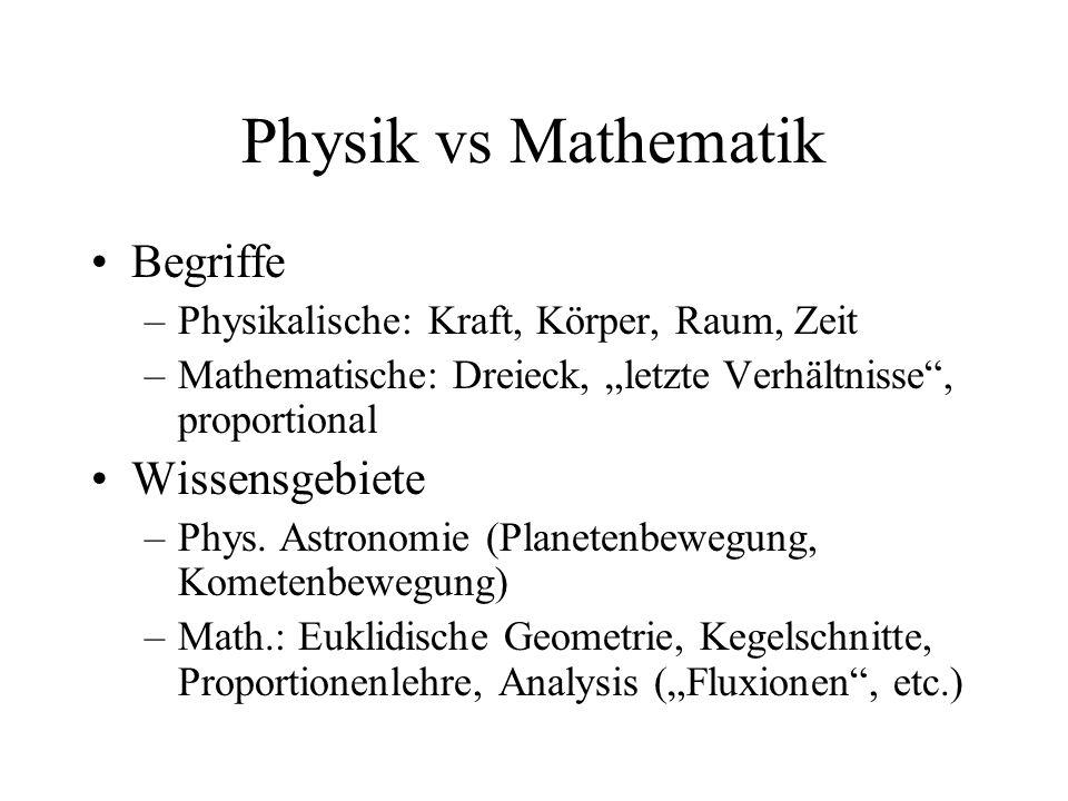 """Physik vs Mathematik Begriffe –Physikalische: Kraft, Körper, Raum, Zeit –Mathematische: Dreieck, """"letzte Verhältnisse"""", proportional Wissensgebiete –P"""