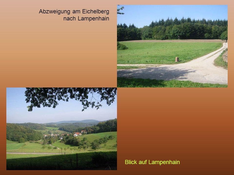 Abzweigung am Eichelberg nach Lampenhain Blick auf Lampenhain