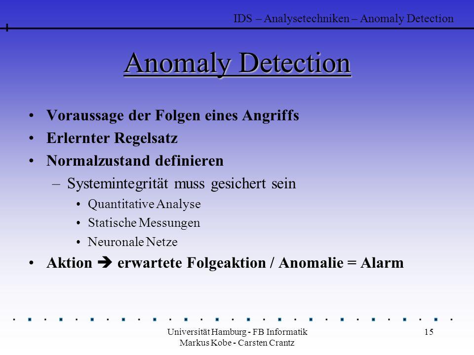 Universität Hamburg - FB Informatik Markus Kobe - Carsten Crantz 15 Anomaly Detection Voraussage der Folgen eines Angriffs Erlernter Regelsatz Normalz