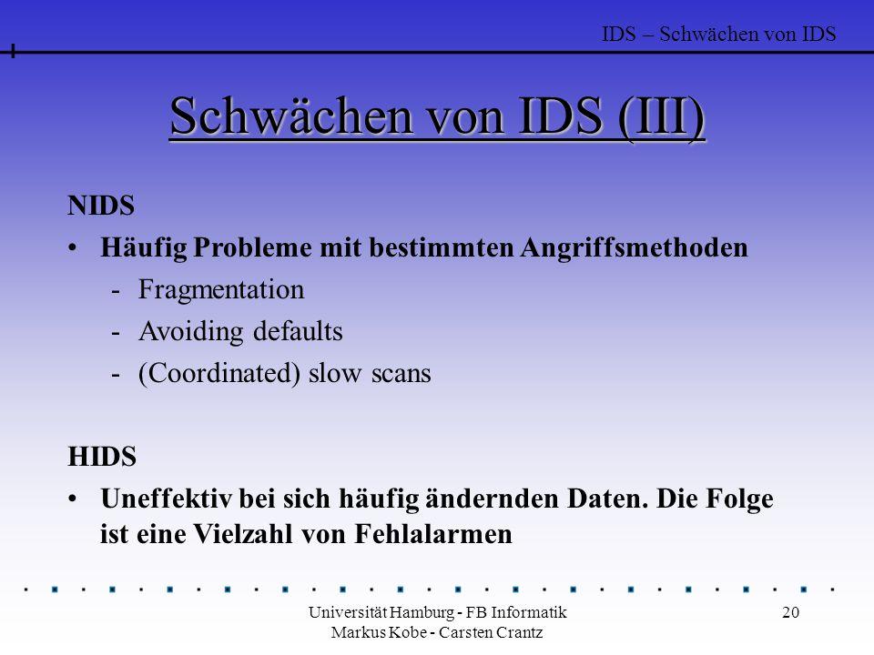 Universität Hamburg - FB Informatik Markus Kobe - Carsten Crantz 20 Schwächen von IDS (III) NIDS Häufig Probleme mit bestimmten Angriffsmethoden -Fragmentation -Avoiding defaults -(Coordinated) slow scans HIDS Uneffektiv bei sich häufig ändernden Daten.