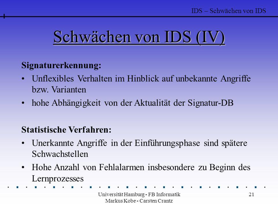Universität Hamburg - FB Informatik Markus Kobe - Carsten Crantz 21 Schwächen von IDS (IV) Signaturerkennung: Unflexibles Verhalten im Hinblick auf un