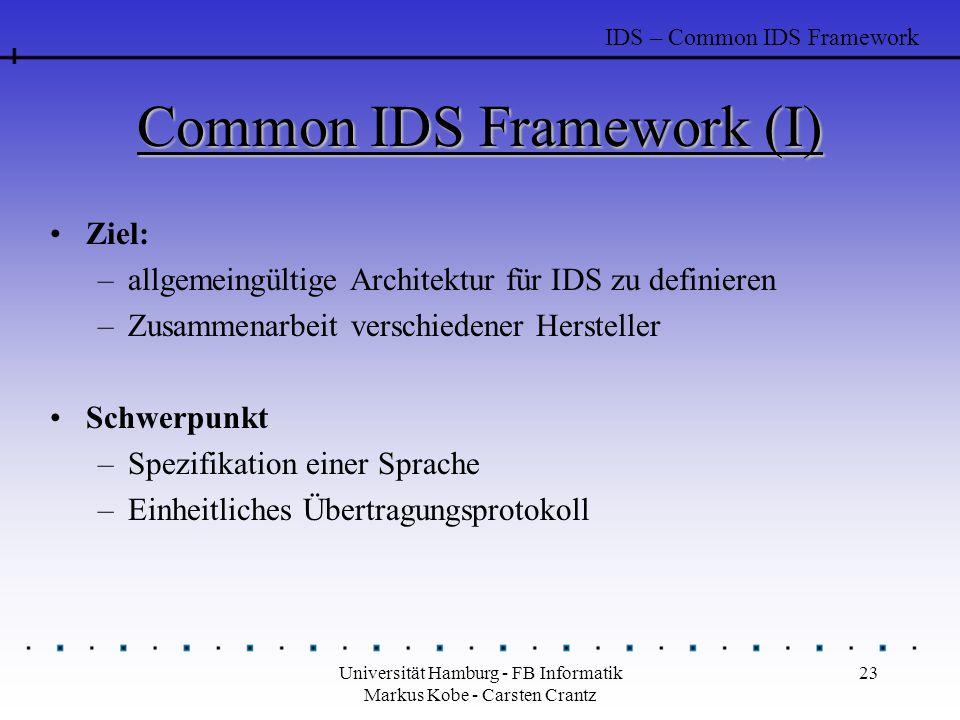 Universität Hamburg - FB Informatik Markus Kobe - Carsten Crantz 23 Common IDS Framework (I) Ziel: –allgemeingültige Architektur für IDS zu definieren