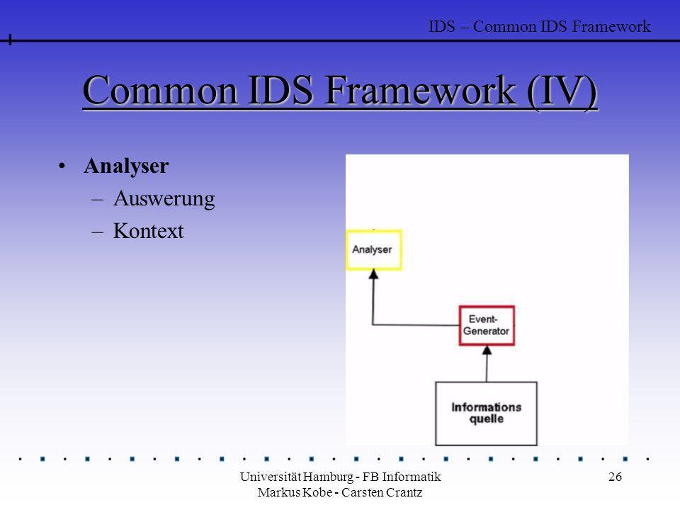 Universität Hamburg - FB Informatik Markus Kobe - Carsten Crantz 26 Common IDS Framework (IV) Analyser –Auswerung –Kontext IDS – Common IDS Framework