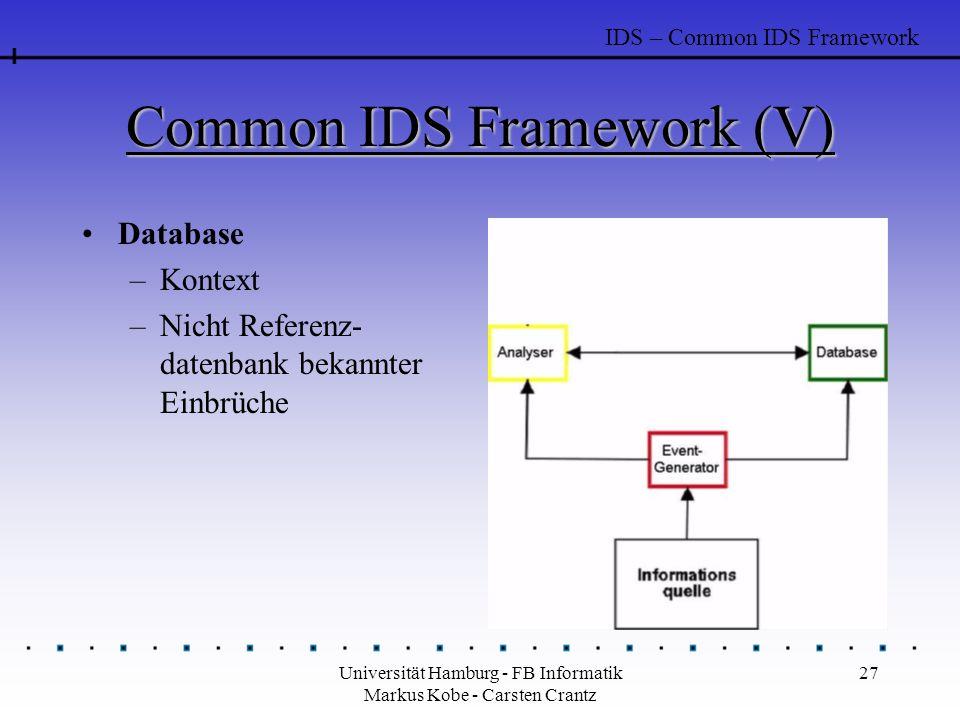 Universität Hamburg - FB Informatik Markus Kobe - Carsten Crantz 27 Common IDS Framework (V) Database –Kontext –Nicht Referenz- datenbank bekannter Einbrüche IDS – Common IDS Framework