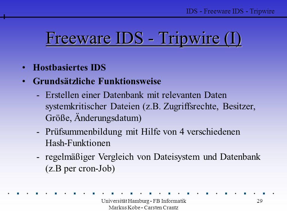 Universität Hamburg - FB Informatik Markus Kobe - Carsten Crantz 29 Freeware IDS - Tripwire (I) Hostbasiertes IDS Grundsätzliche Funktionsweise -Erstellen einer Datenbank mit relevanten Daten systemkritischer Dateien (z.B.