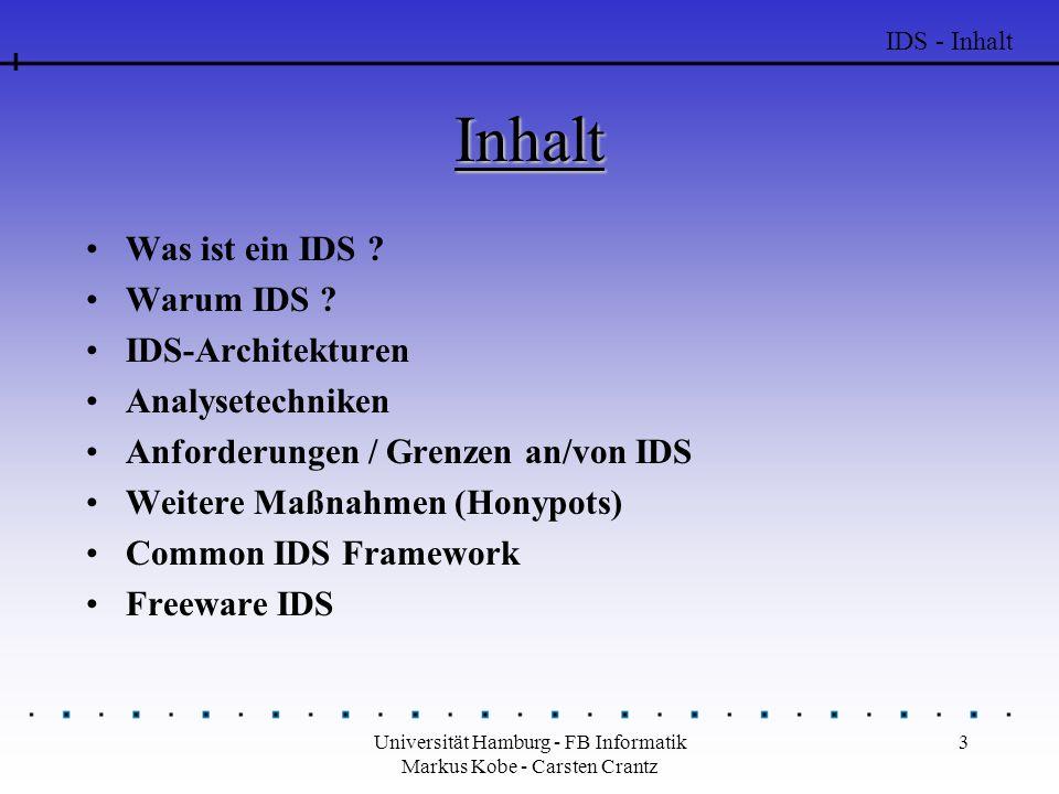 Universität Hamburg - FB Informatik Markus Kobe - Carsten Crantz 3 Inhalt Was ist ein IDS ? Warum IDS ? IDS-Architekturen Analysetechniken Anforderung