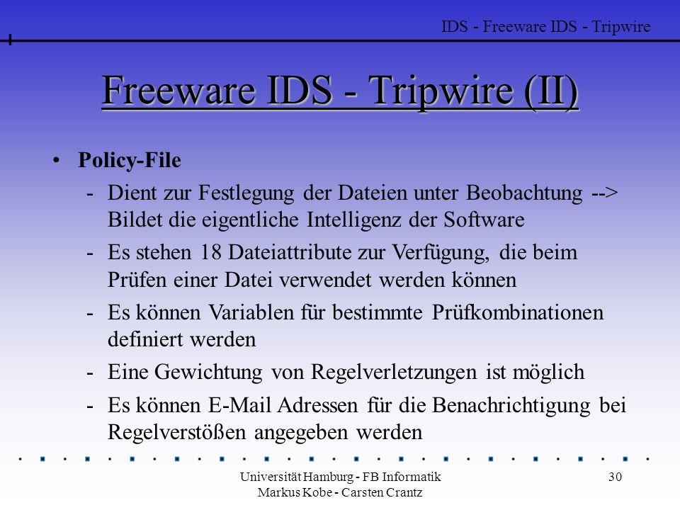 Universität Hamburg - FB Informatik Markus Kobe - Carsten Crantz 30 Freeware IDS - Tripwire (II) Policy-File -Dient zur Festlegung der Dateien unter B