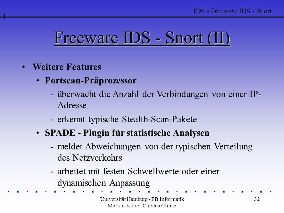 Universität Hamburg - FB Informatik Markus Kobe - Carsten Crantz 32 Freeware IDS - Snort (II) Weitere Features Portscan-Präprozessor -überwacht die Anzahl der Verbindungen von einer IP- Adresse -erkennt typische Stealth-Scan-Pakete SPADE - Plugin für statistische Analysen -meldet Abweichungen von der typischen Verteilung des Netzverkehrs -arbeitet mit festen Schwellwerte oder einer dynamischen Anpassung IDS - Freeware IDS - Snort
