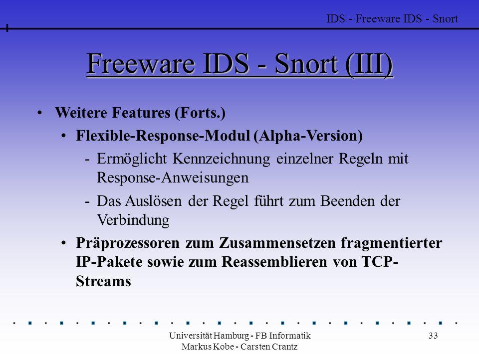 Universität Hamburg - FB Informatik Markus Kobe - Carsten Crantz 33 Freeware IDS - Snort (III) Weitere Features (Forts.) Flexible-Response-Modul (Alph