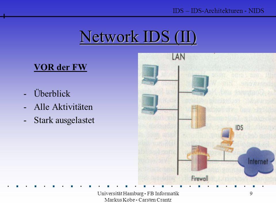 Universität Hamburg - FB Informatik Markus Kobe - Carsten Crantz 30 Freeware IDS - Tripwire (II) Policy-File -Dient zur Festlegung der Dateien unter Beobachtung --> Bildet die eigentliche Intelligenz der Software -Es stehen 18 Dateiattribute zur Verfügung, die beim Prüfen einer Datei verwendet werden können -Es können Variablen für bestimmte Prüfkombinationen definiert werden -Eine Gewichtung von Regelverletzungen ist möglich -Es können E-Mail Adressen für die Benachrichtigung bei Regelverstößen angegeben werden IDS - Freeware IDS - Tripwire
