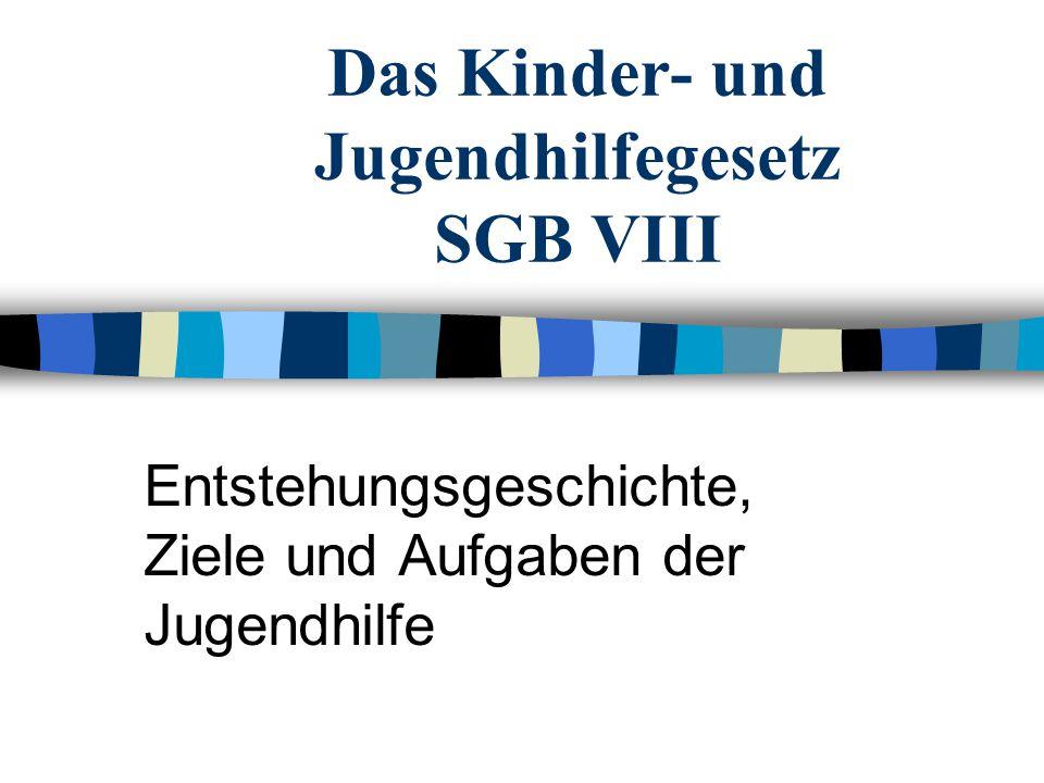 Das Kinder- und Jugendhilfegesetz SGB VIII Entstehungsgeschichte, Ziele und Aufgaben der Jugendhilfe