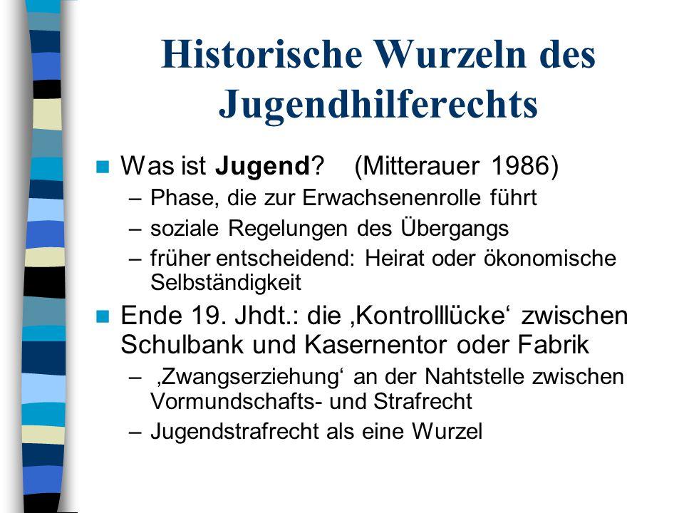 Historische Wurzeln des Jugendhilferechts Was ist Jugend? (Mitterauer 1986) –Phase, die zur Erwachsenenrolle führt –soziale Regelungen des Übergangs –