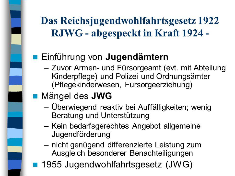 Das Reichsjugendwohlfahrtsgesetz 1922 RJWG - abgespeckt in Kraft 1924 - Einführung von Jugendämtern –Zuvor Armen- und Fürsorgeamt (evt. mit Abteilung