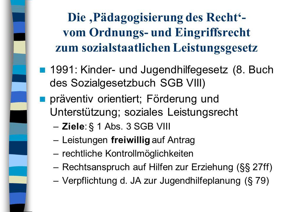 Die 'Pädagogisierung des Recht'- vom Ordnungs- und Eingriffsrecht zum sozialstaatlichen Leistungsgesetz 1991: Kinder- und Jugendhilfegesetz (8. Buch d