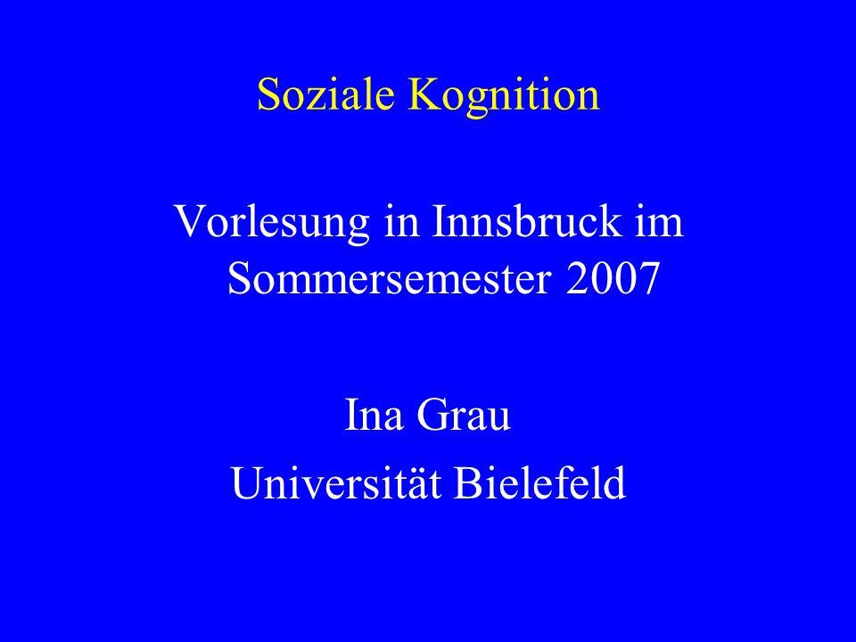 Soziale Kognition Vorlesung in Innsbruck im Sommersemester 2007 Ina Grau Universität Bielefeld
