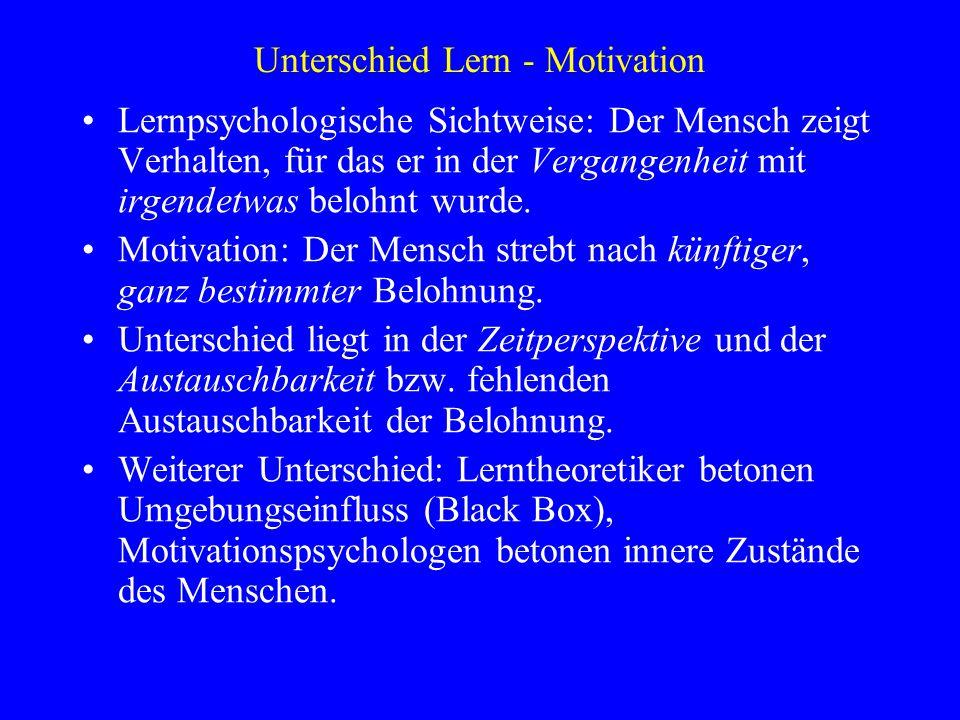 Unterschied Lern - Motivation Lernpsychologische Sichtweise: Der Mensch zeigt Verhalten, für das er in der Vergangenheit mit irgendetwas belohnt wurde