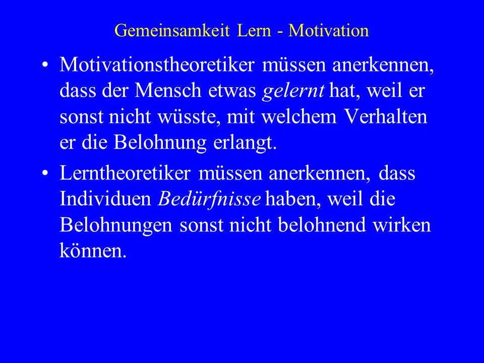 Gemeinsamkeit Lern - Motivation Motivationstheoretiker müssen anerkennen, dass der Mensch etwas gelernt hat, weil er sonst nicht wüsste, mit welchem V