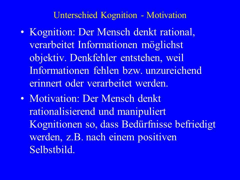 Unterschied Kognition - Motivation Kognition: Der Mensch denkt rational, verarbeitet Informationen möglichst objektiv. Denkfehler entstehen, weil Info