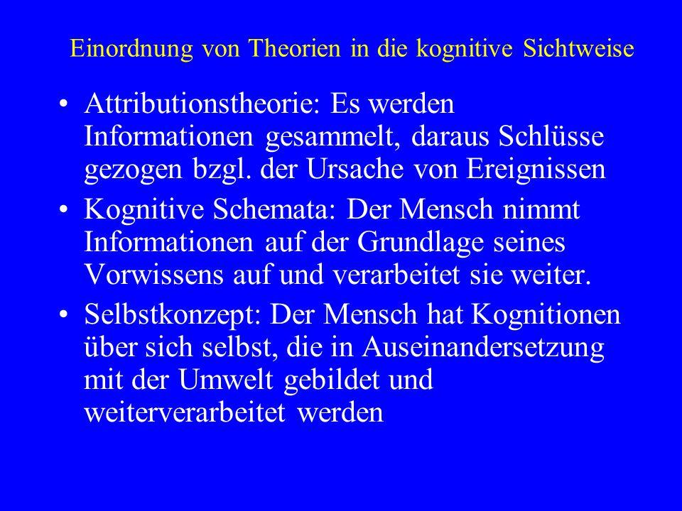 Einordnung von Theorien in die kognitive Sichtweise Attributionstheorie: Es werden Informationen gesammelt, daraus Schlüsse gezogen bzgl. der Ursache
