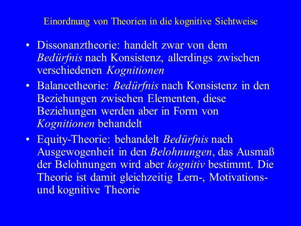 Einordnung von Theorien in die kognitive Sichtweise Dissonanztheorie: handelt zwar von dem Bedürfnis nach Konsistenz, allerdings zwischen verschiedene