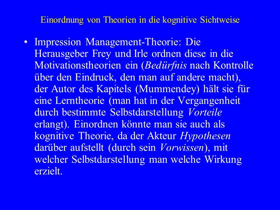 Einordnung von Theorien in die kognitive Sichtweise Impression Management-Theorie: Die Herausgeber Frey und Irle ordnen diese in die Motivationstheori