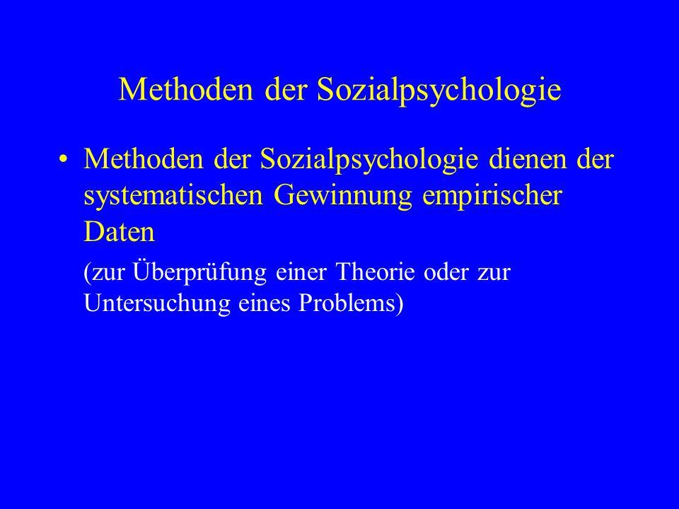 Methoden der Sozialpsychologie Methoden der Sozialpsychologie dienen der systematischen Gewinnung empirischer Daten (zur Überprüfung einer Theorie ode