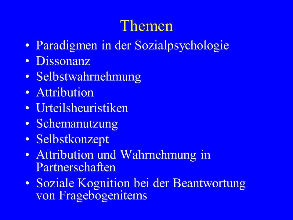 Themen Paradigmen in der Sozialpsychologie Dissonanz Selbstwahrnehmung Attribution Urteilsheuristiken Schemanutzung Selbstkonzept Attribution und Wahr