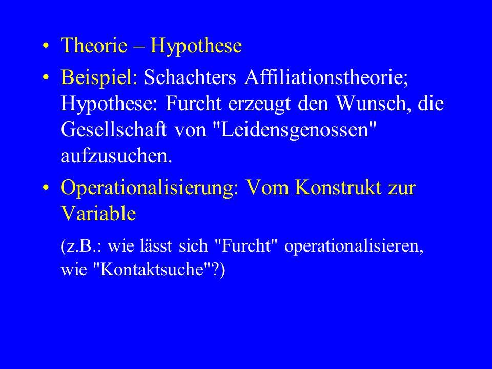 Theorie – Hypothese Beispiel: Schachters Affiliationstheorie; Hypothese: Furcht erzeugt den Wunsch, die Gesellschaft von
