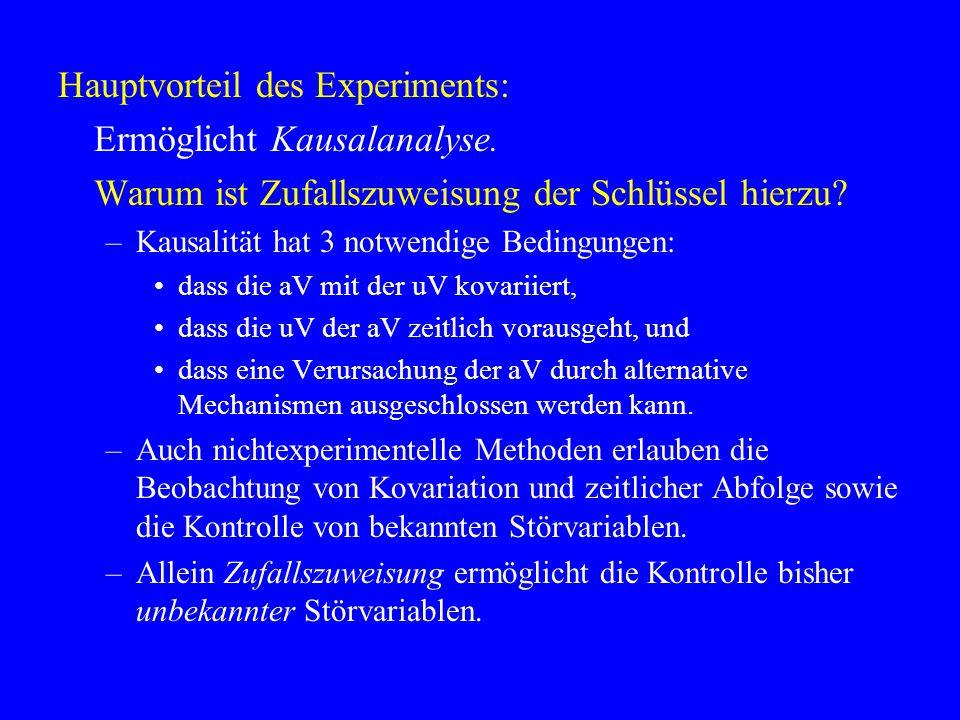 Hauptvorteil des Experiments: Ermöglicht Kausalanalyse. Warum ist Zufallszuweisung der Schlüssel hierzu? –Kausalität hat 3 notwendige Bedingungen: das