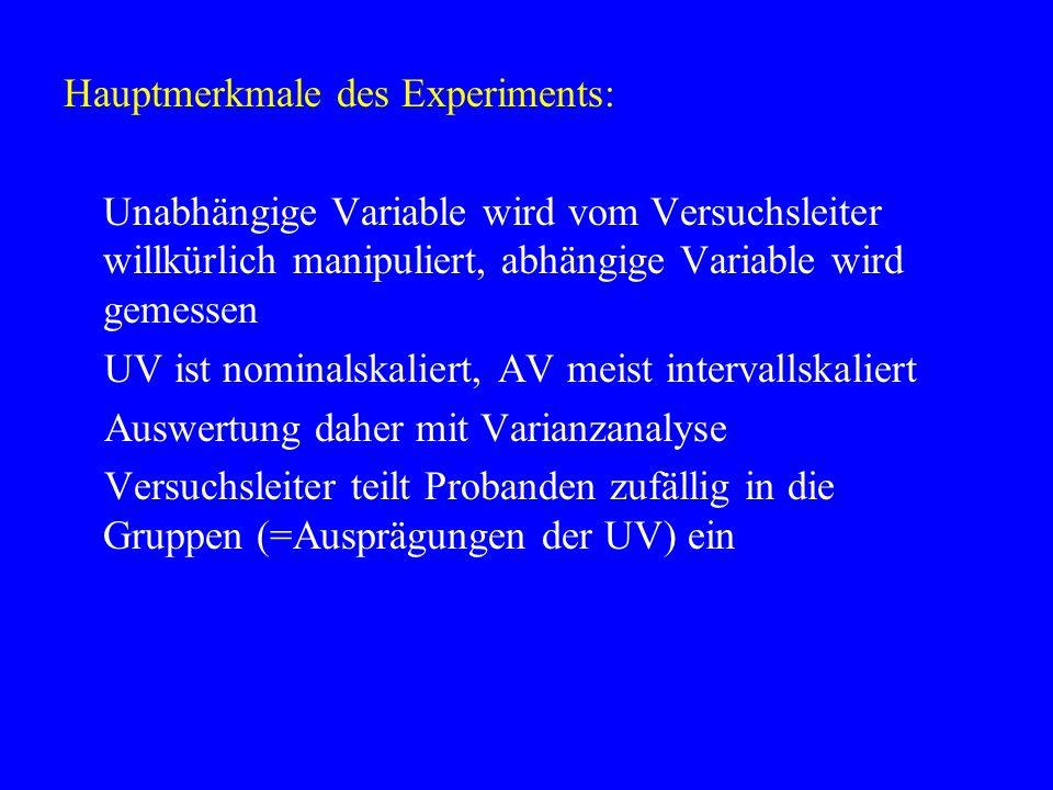Hauptmerkmale des Experiments: Unabhängige Variable wird vom Versuchsleiter willkürlich manipuliert, abhängige Variable wird gemessen UV ist nominalsk