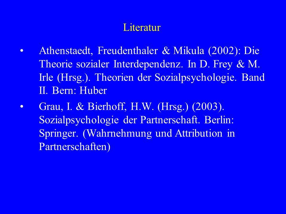 Literatur Athenstaedt, Freudenthaler & Mikula (2002): Die Theorie sozialer Interdependenz. In D. Frey & M. Irle (Hrsg.). Theorien der Sozialpsychologi