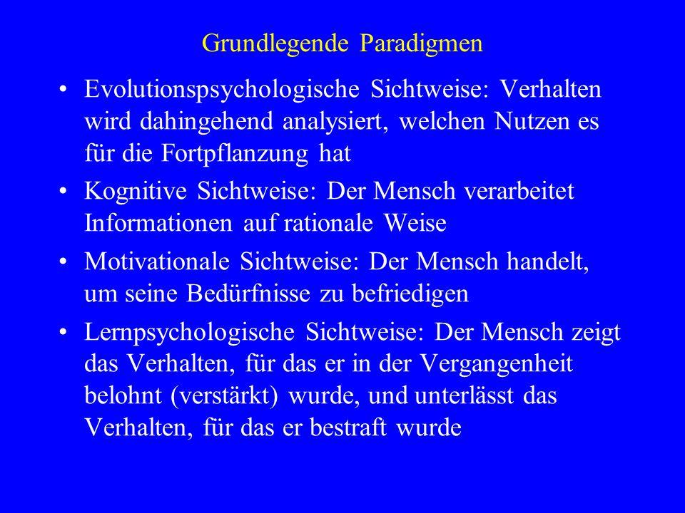 Grundlegende Paradigmen Evolutionspsychologische Sichtweise: Verhalten wird dahingehend analysiert, welchen Nutzen es für die Fortpflanzung hat Kognit