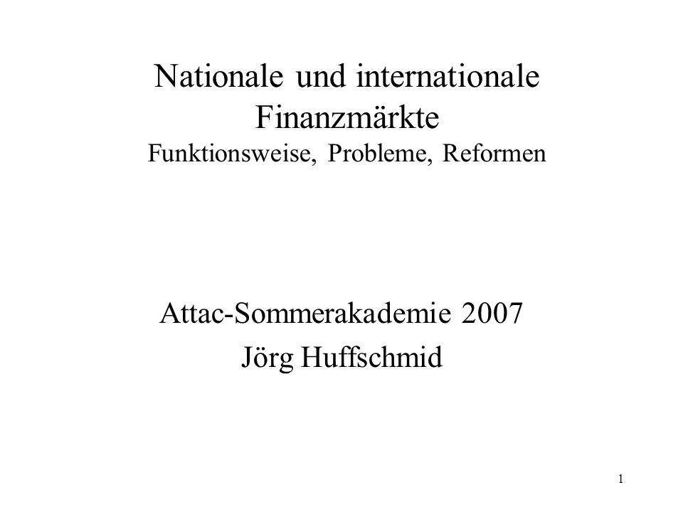 1 Nationale und internationale Finanzmärkte Funktionsweise, Probleme, Reformen Attac-Sommerakademie 2007 Jörg Huffschmid
