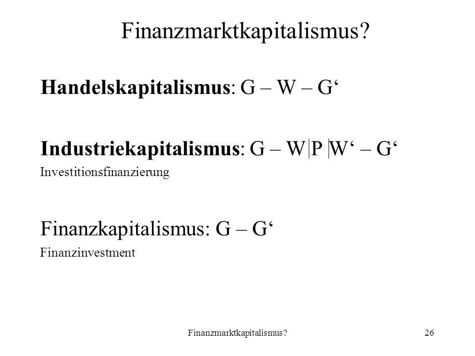 Finanzmarktkapitalismus 26 Finanzmarktkapitalismus.