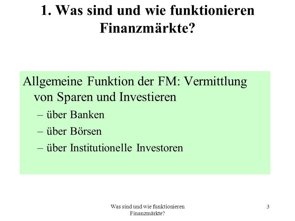 Was sind und wie funktionieren Finanzmärkte. 3 1.
