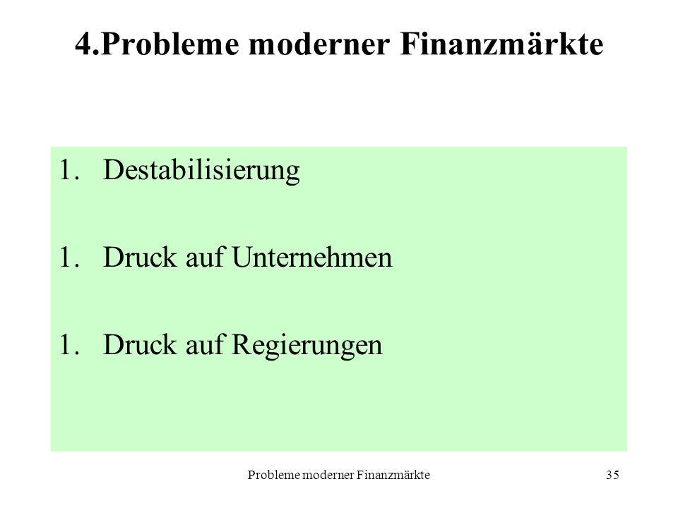 Probleme moderner Finanzmärkte35 4.Probleme moderner Finanzmärkte 1.Destabilisierung 1.Druck auf Unternehmen 1.Druck auf Regierungen