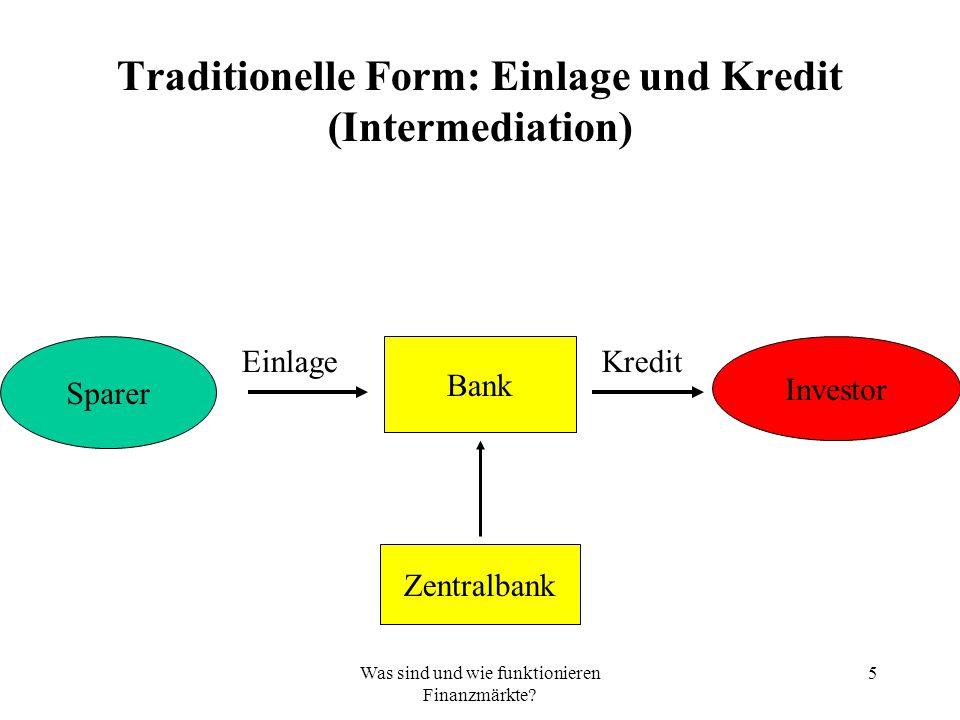 Was sind und wie funktionieren Finanzmärkte.
