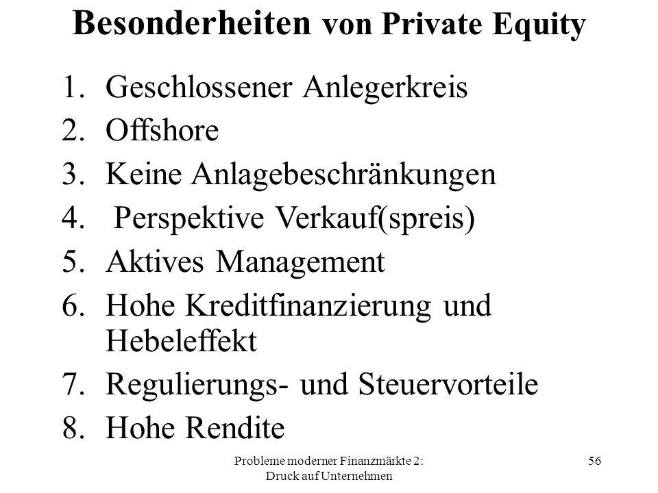 Probleme moderner Finanzmärkte 2: Druck auf Unternehmen 56 Besonderheiten von Private Equity 1.Geschlossener Anlegerkreis 2.Offshore 3.Keine Anlagebeschränkungen 4.