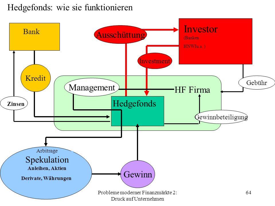 Probleme moderner Finanzmärkte 2: Druck auf Unternehmen 64 Investor (Banken HNWIu.a.