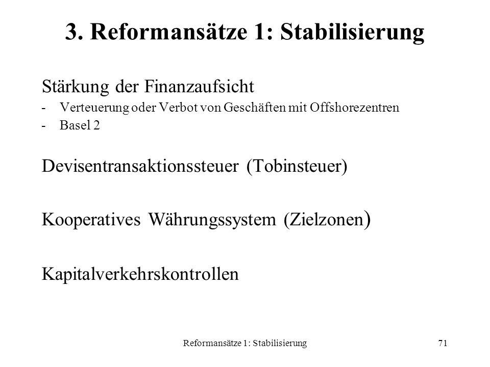 Reformansätze 1: Stabilisierung71 3.