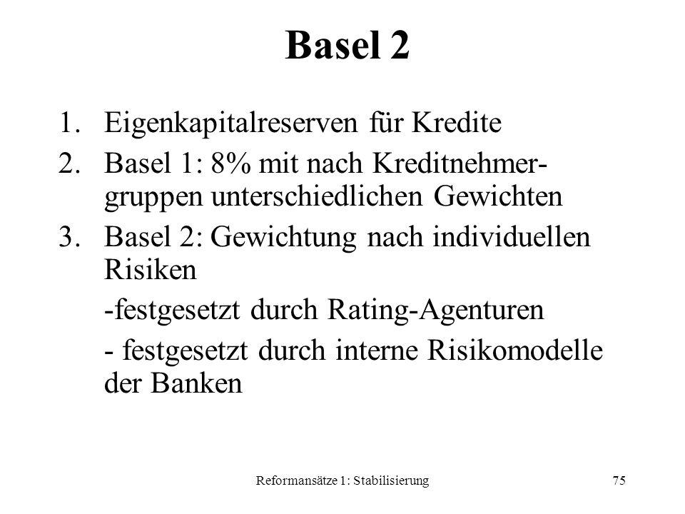 Reformansätze 1: Stabilisierung75 Basel 2 1.Eigenkapitalreserven für Kredite 2.Basel 1: 8% mit nach Kreditnehmer- gruppen unterschiedlichen Gewichten 3.Basel 2: Gewichtung nach individuellen Risiken -festgesetzt durch Rating-Agenturen - festgesetzt durch interne Risikomodelle der Banken