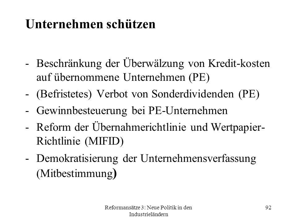 Reformansätze 3: Neue Politik in den Industrieländern 92 Unternehmen schützen -Beschränkung der Überwälzung von Kredit-kosten auf übernommene Unternehmen (PE) -(Befristetes) Verbot von Sonderdividenden (PE) -Gewinnbesteuerung bei PE-Unternehmen -Reform der Übernahmerichtlinie und Wertpapier- Richtlinie (MIFID) -Demokratisierung der Unternehmensverfassung (Mitbestimmung )