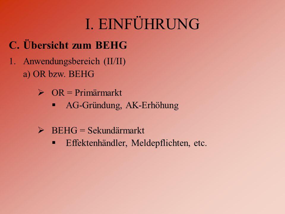 I. EINFÜHRUNG C.Übersicht zum BEHG 1.Anwendungsbereich (II/II) a) OR bzw.
